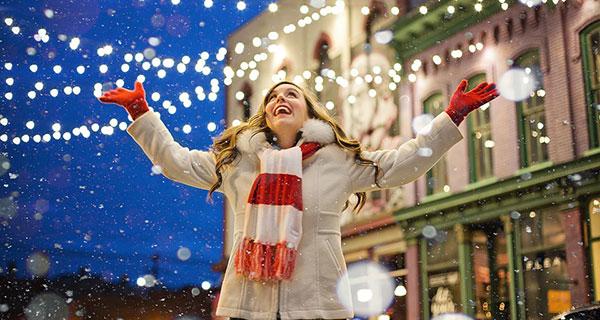 Enjoying the beauty of Christmas lights