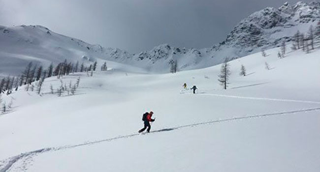 At Boulder Hut, every ski turn comes after a lot of (uphill) effort